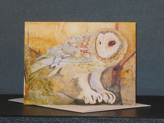 Owl Note Card, Original Fine Art Card