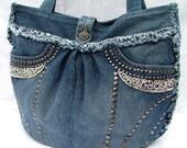SALE Denim patchwork shoulder bag / tote