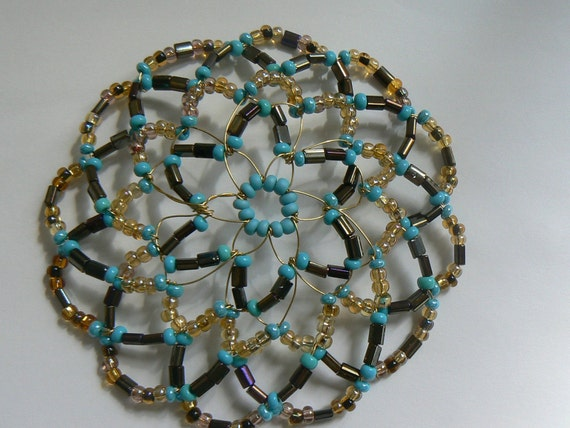 handmade beaded kippah in shades of turquoise gold and brown