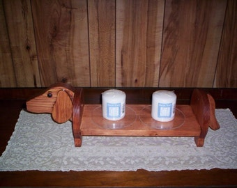 Dachshund candle holder , pillar or tapered  handcrafted