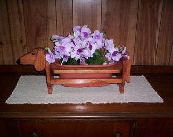 Dachshund planter for inside or outside handcradfted