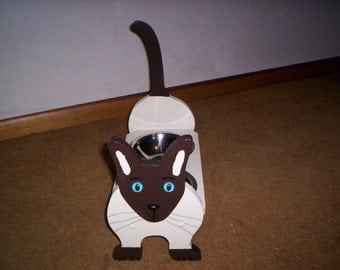 Siamese Cat elevated feeder handcrafted and handpainted