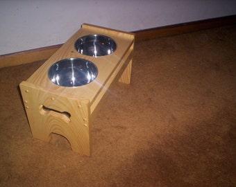 "Elevated  Dog feeder handcrafted 9 1/2"" high bowls"