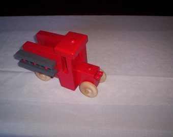 Wooden toy fire truck , handcrafted & handpainted