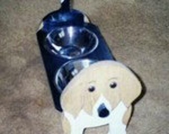 BEAGLE ,dog elevated feeder hand crafted and hand painted