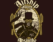 Airship Absinthe T-shirt, unisex, sizes S-XL, brown - sighcographics