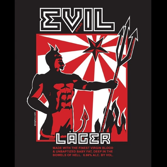 Evil Lager beer label horror T-shirt size S-4XL