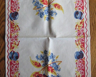 Vintage Kitchen Towel-Apples, Pears, Plums, Cherries and More