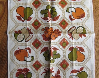 Vintage Kitchen Towel featuring Fruits in Fall Colors  TREASURY ITEM