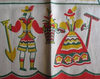 Vintage Kitchen Towel featuring Pennsylvania Dutch Couple-Victory Hand Print