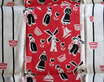Vintage Kitchen Towel featuring Windmills, Sailboats and Dutch People