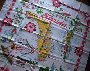 Vintage 1960s FLoRiDa Souvenir Kitchen Tablecloth featuring Sunshine Skyway UNUSED AND MWT