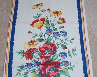 Beautiful Floral and Butterfly Vintage Kitchen Towel