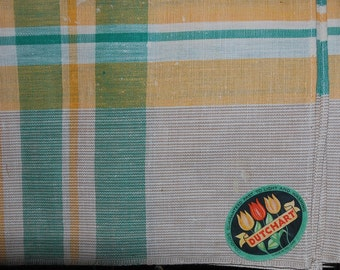 Vintage Golden Yellow and Green Kitchen Tablecloth UNUSED AND MWT