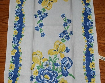 Vintage Blue and Yellow Floral Kitchen Towel - circa 1960s
