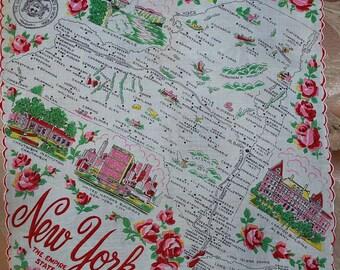 Vintage New York State Souvenir Handkerchief-FRANSHAW