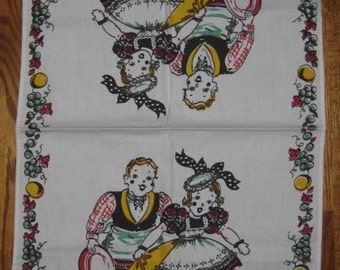 Vintage Kitchen Towel from Broderie Creations featuring Maid and Butler