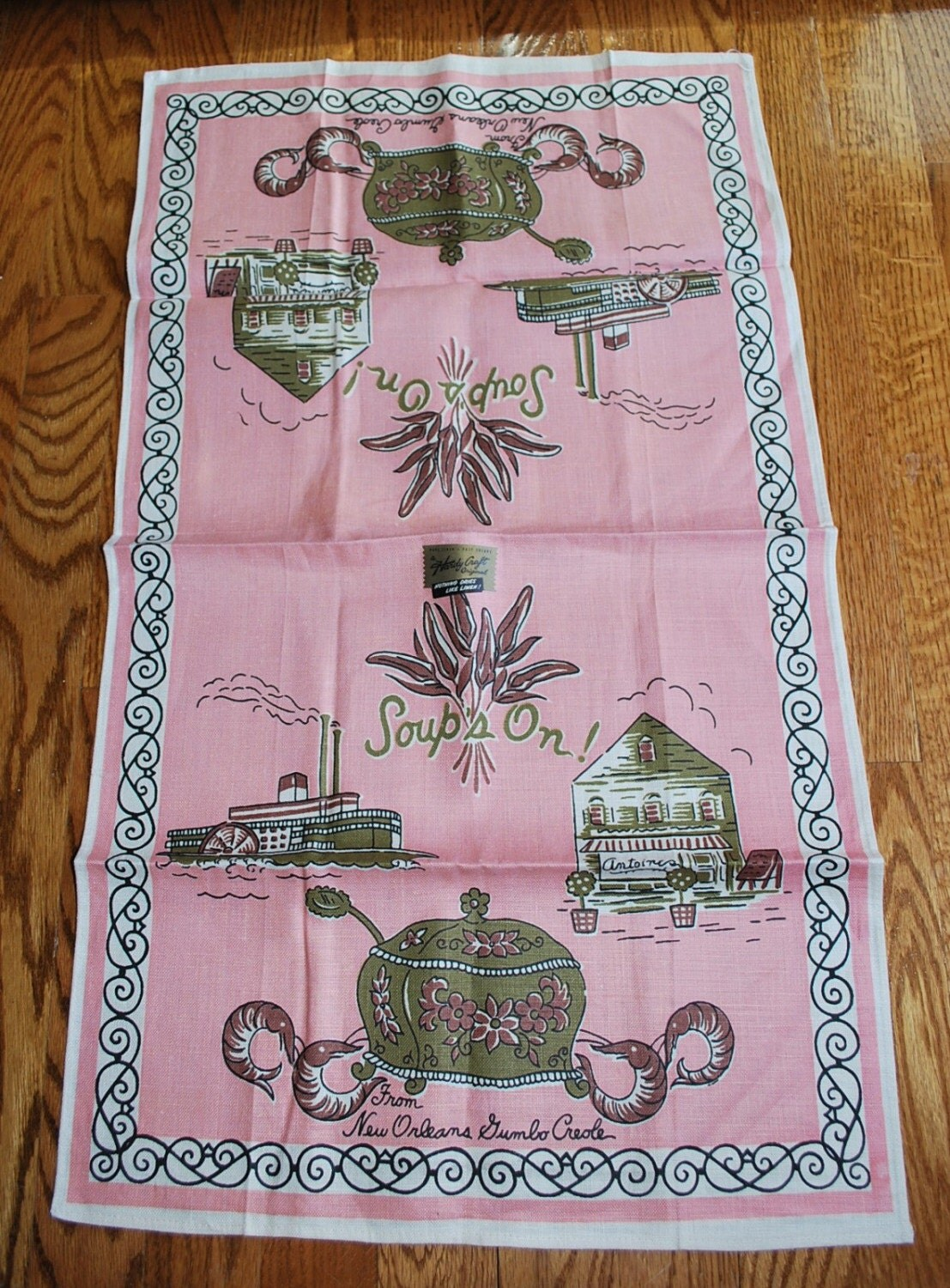 Vintage Kitchen Towel Featuring New Orleans
