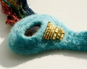 Necklace felted blue yellow 'Amber ' RESERVED