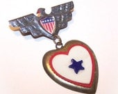 C.1940 SWEETHEART Red/White/Blue Pin - Eagle Top and Heart Bottom...