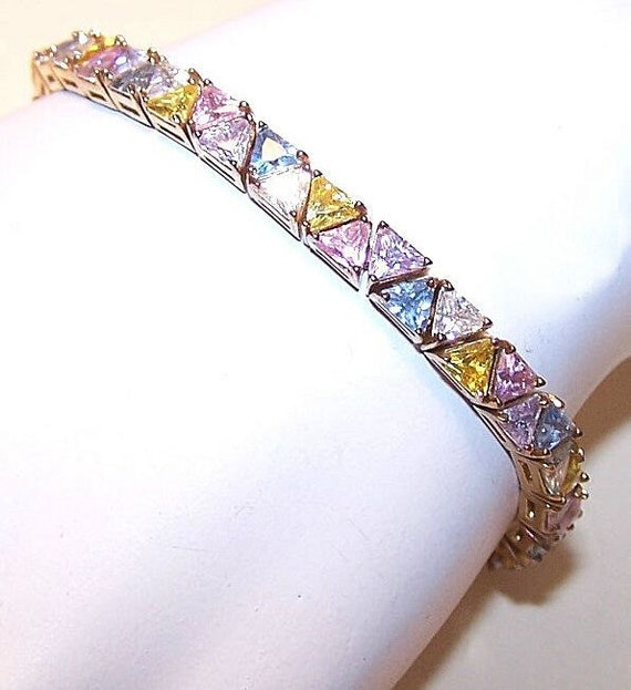 Vintage STERLING SILVER Vermeil and Pastel-Colored Cubic Zirconia Bracelet.....