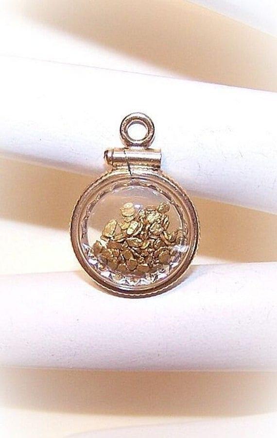 Vintage GOLD FILLED Charm/Pendant Holding Genuine Gold Nuggets....