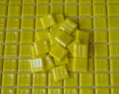 SALE - Italian Glass Yellow Mosaic Tiles - 25 pieces