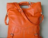 BROOK - large orange pebble leather handbag / shoulderbag