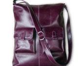 MICHELLE - Larger version - Deep purple leather handbag / shoulderbag