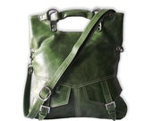 Olive green  leather handbag / shoulder bag / purse / tote / Brook / tftateam