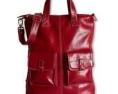 Leather backpack / handbag / shoulder bag / red leather bag / tftateam / Kyle