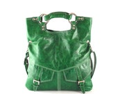 SALE - Bright  emerald green leather handbag, leather shoulder bag, leather tote, crossbody bag, purse, leather handbag women, handmade bag