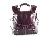 Purple leather handbag / shoulder bag / purse / tote / Brook / tftateam