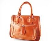 Orange leather handbag / shoulder bag / purse / Rabbit / tftateam