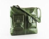 Olive green leather handbag / shoulder bag / leather purse / messenger / Michelle