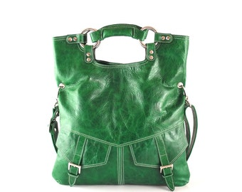 Bright  emerald green leather handbag / shoulder bag / purse / tote / Brook / tftateam