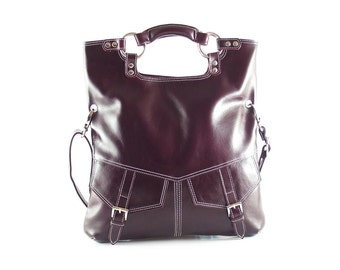 Purple leather handbag / shoulder bag / purse / tote / Brook / tftateam