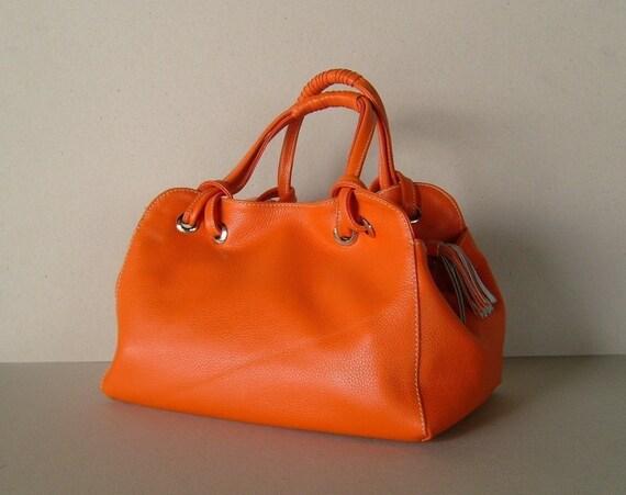 CANDY in orange - genuine  leather handbag / purse