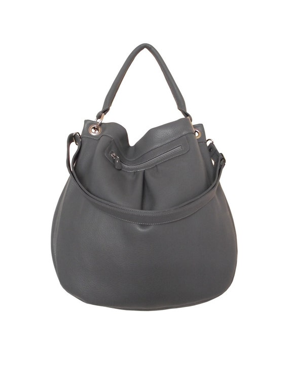 Gray pebble leather handbag / slouchy shoulder bag / leather bag / purse / Sam / tftateam