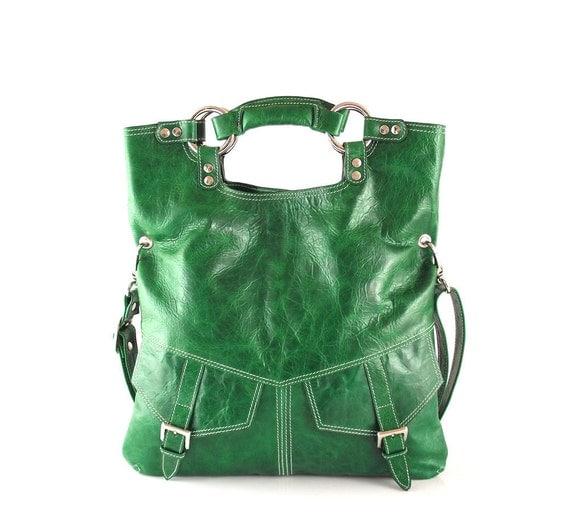 SALE - Bright  emerald green leather handbag, leather shoulder bag, leather tote, crossbody bag, purse, leather handbag women, handmade bag
