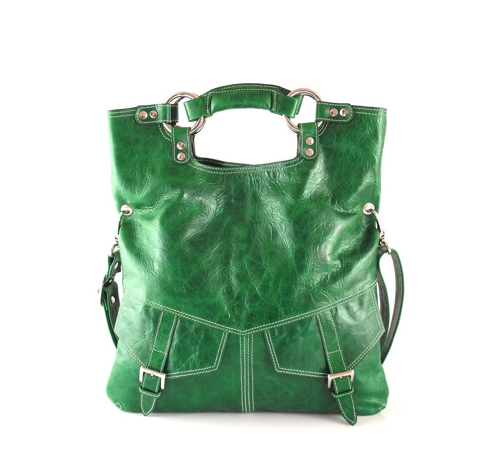 SALE Bright emerald green leather handbag leather shoulder