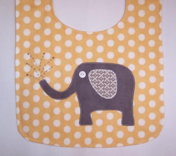 Bib, baby boy bib, unique handmade baby gift, adorable homemade elephant applique, designer fabric, three absorbent layers