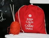 Large knitting project bag - Keep Calm and Carry Yarn - red