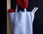 Canvas Knitting/Crochet Tote - Keep Calm and Carry Yarn - Light blue