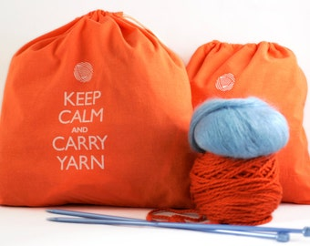Large knitting project bag - Keep Calm and Carry Yarn - bright orange