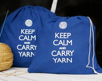 Small knitting project bag - Keep Calm and Carry Yarn - superhero blue