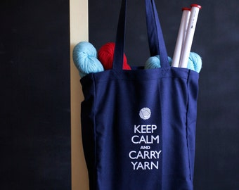 Canvas Knitting/Crochet Tote - Keep Calm and Carry Yarn - Navy blue