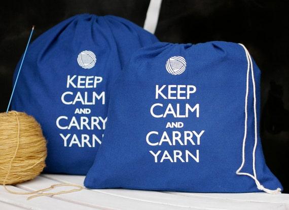 Small knitting project bag - Keep Calm and Carry Yarn - superhero blue