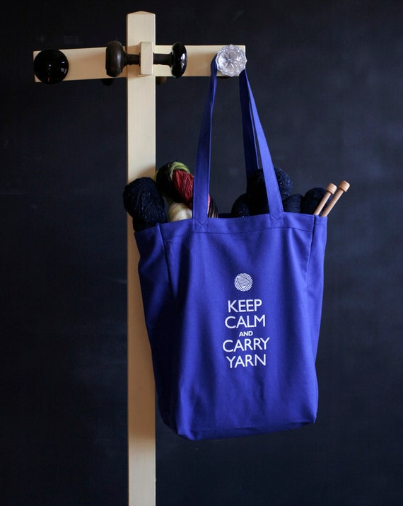 Canvas Knitting/Crochet Tote - Keep Calm and Carry Yarn - Superhero blue