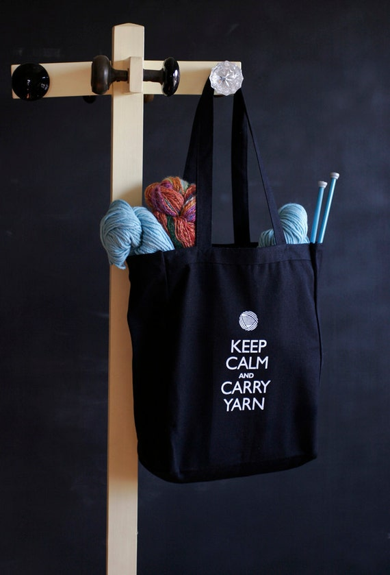Canvas Knitting/Crochet Tote - Keep Calm and Carry Yarn - Black